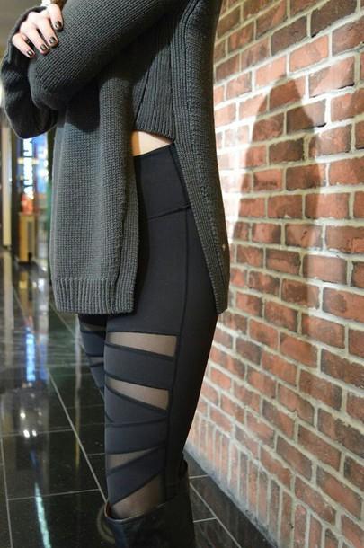 Leggings Black Slit Lululemon Sweater Grey Grey