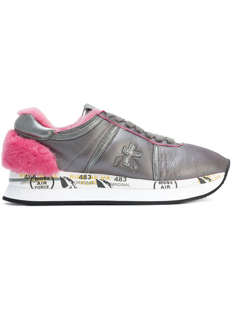 Premiata women sneakers leather grey shoes
