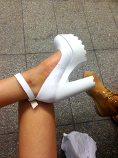 shoes,high heels,white,cleated sole platforms,white heels,block heels,white block heels,heels,one strap,chunky heels,high heel,tred heel,grunge shoes,help me out,grunge,thick heel,stylish shoes,platform shoes,white shoes,tumble post,ankle strap heels,chunky shoes,chunky heels white,pinterest