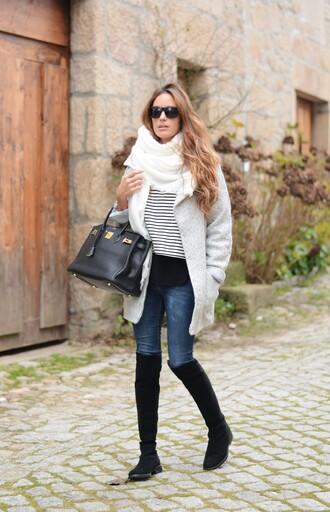 stella wants to die blogger coat jeans sweater scarf sunglasses striped sweater winter coat leather bag