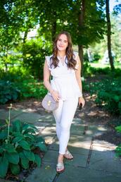 covering bases,curvy,blogger,top,leggings,jeans,bag,shoes,jewels,tank top,sandals,white top,white pants,summer outfits