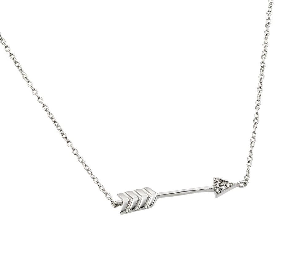 Sterling silver dainty arrow pendant necklace
