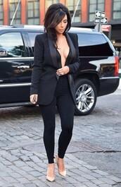 jumpsuit,shoes,jacket,kim kardashian