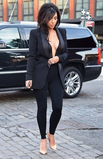 jumpsuit shoes jacket kim kardashian