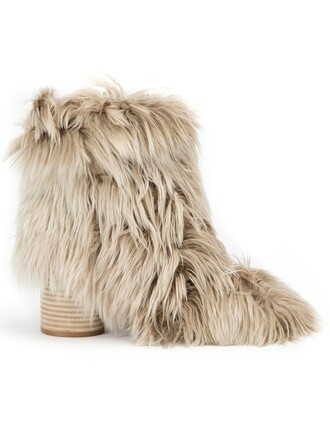 fur boots ankle boots nude shoes