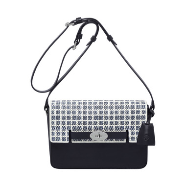 Bayswater shoulder in midnight blue & cream dotty leather