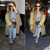jacket,rihanna,fall outfits,boots