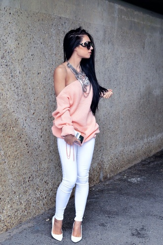 sweater pink white jeans heels jewelry sunglasses shoes jewels jeans pink sweater off shoulder