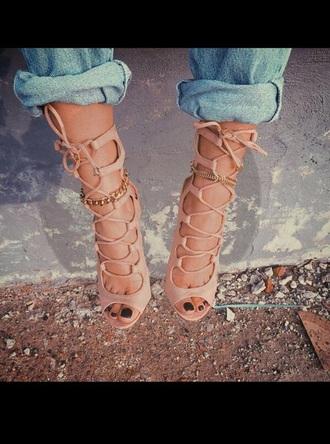 shoes nude heels lace up heels high heel sandals