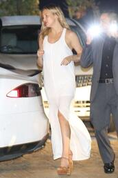 dress,slit dress,summer dress,kate hudson,white dress,maxi dress,sandals,platform sandals,shoes,carvela