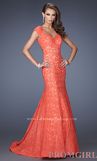 Lace Mermaid Gown, La Femme Long Lace Prom Dresses- Prom Girl