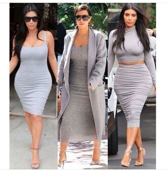 bodycon dress curvy plus size dress grey coat midi skirt grey skirt pleated skirt cropped turtleneck two piece dress set grey dress grey wool coat