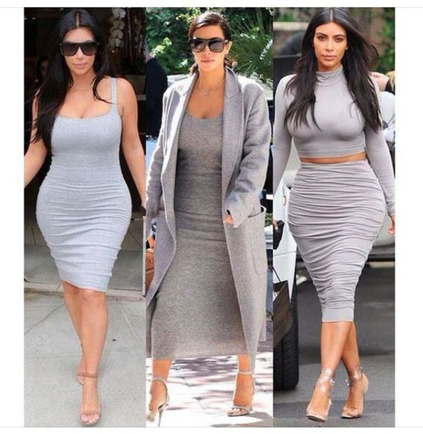 bodycon dress, curvy, plus size dress, grey coat, midi skirt ...