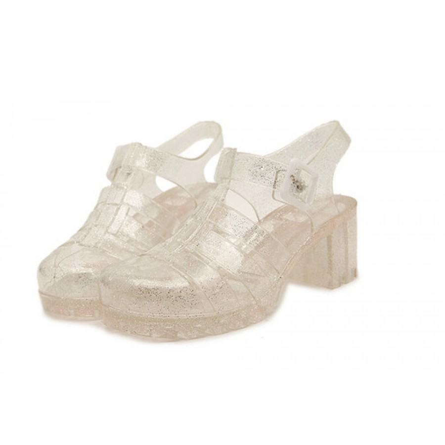 Clear Speckled Silver Chunky Heel Jellies