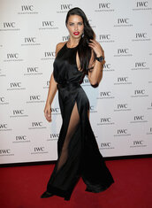 jumpsuit,gown,adriana lima,model,black,pants,top,slit,slit pants