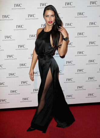 jumpsuit gown adriana lima model black pants top slit slit pants