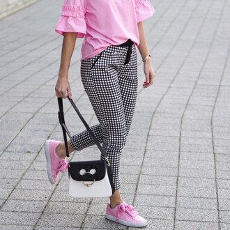 pants tumblr gingham sneakers pink sneakers bag shoes