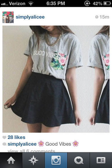 skirt tumblr black shirt good vibes hipster pocket swag floral tshirt tee graphic tee grey flowers instagram black skirt skater skirt black skater skirt
