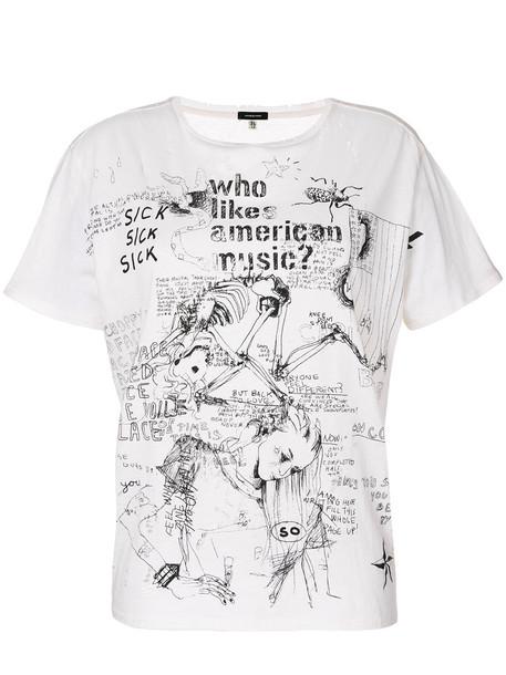 R13 t-shirt shirt t-shirt women music american white cotton top