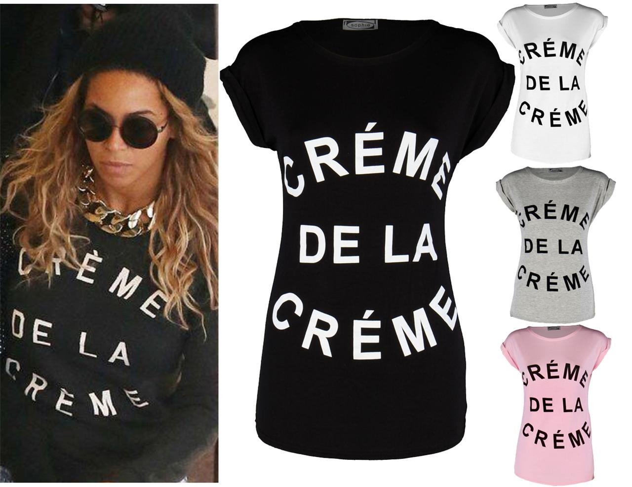 Womens Ladies Celeb Beyonce Creme de La Creme Turn Up Sleeve Top T Shirt Tee | eBay