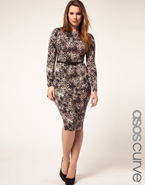 ASOS Curve | ASOS CURVE Midi Bodycon Dress In Leopard Print at ASOS