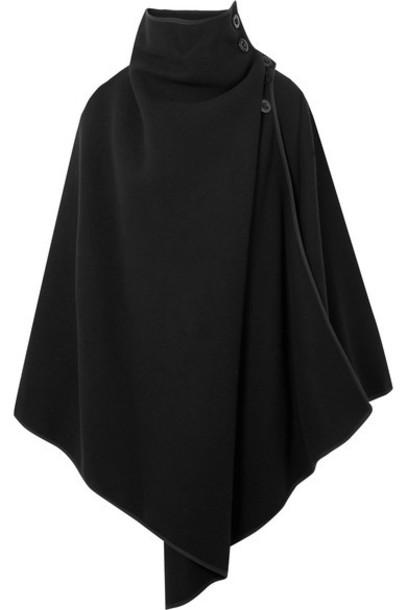 Chloe cape oversized black wool top