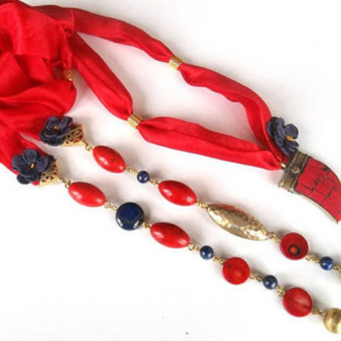 jewelry red scarf coral lapis lazuli hand jewelry scarf accessories scarf necklace valentines day gift idea etsy scarf red
