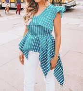 blouse,stripes,blue and white