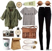 bag,brown,messenger bag,jewels,shirt,coat,jacket,green,converse,cute,army green jacket,starbucks coffee,t-shirt,black jeans,sunglasses,round sunglasses,watch,ineed,pants,back to school,fashion bags,retro sunglasses,white allstars,perfect,black,jeans,grunge,alternative,vintage,shoes,top,jacket and shirt help!,black shirt,brown bag,brown satchel,white converse,casual,polaroid camera,classic watch,old fashioned,authentic,love,spring,fall outfits,cardigan,leather,old school,grey top,words on shirt,military style,streetstyle,satchel bag,satchel,where can i get all if these things?,green jacket