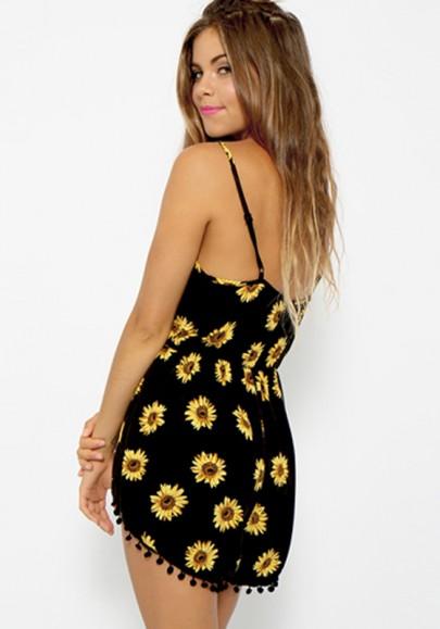 Black floral condole belt sexy backless short jumpsuit