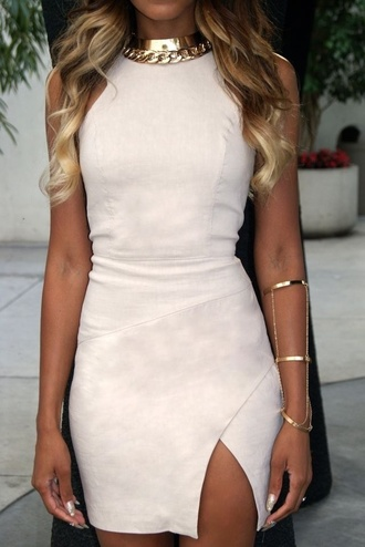 bodycon dress suede nude dress statement necklace bracelets suede dress party dress sexy dress slit dress cuff bracelet gold choker gold jewelry gold necklace mini dress dress clothes white slit homecoming short bodycon prom sexy mini off-white