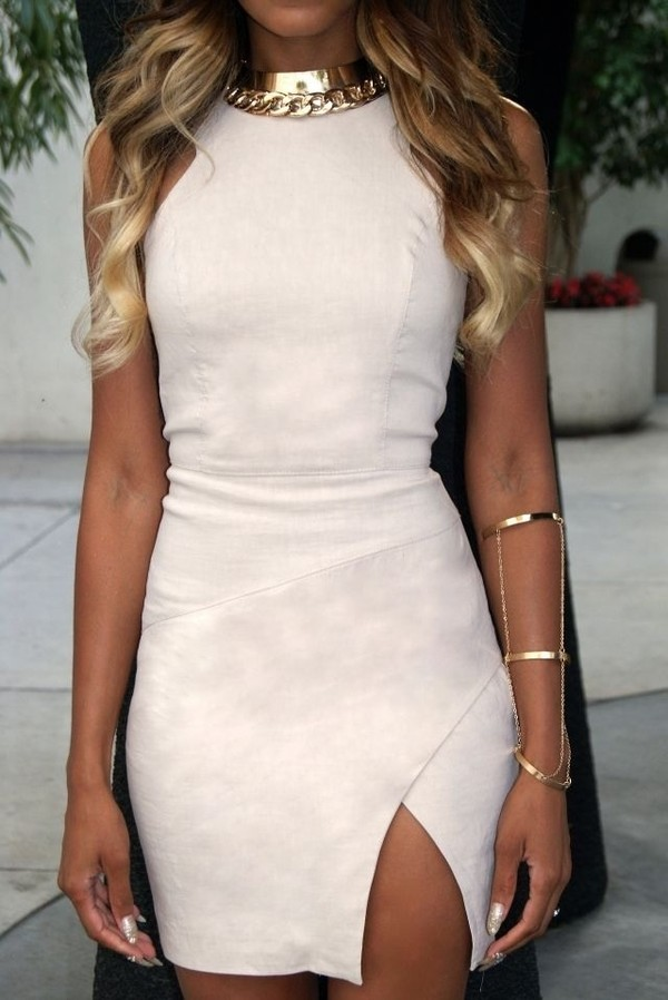 bodycon dress suede nude dress statement necklace bracelets suede dress party dress sexy dress slit dress cuff bracelet gold choker gold jewelry gold necklace mini dress dress jewels beige dress
