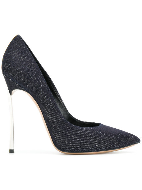 CASADEI denim women pumps leather cotton blue shoes
