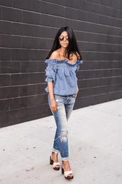 walk in wonderland,blogger,jewels,off the shoulder,ripped jeans,platform shoes,pink heels,blue top