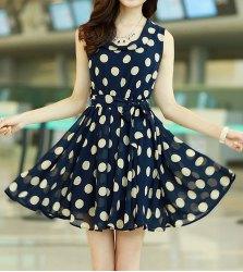 Chic style ruffled polka dot print sleeveless chiffon dress for women (deep blue,xl)