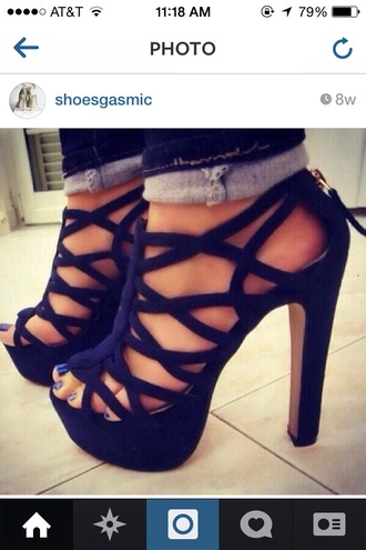 navy strappy heel shoes