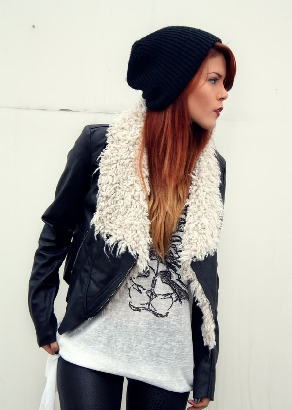 Jacket: leather, leather jacket, faux fur, rugg fur, faux fur ...
