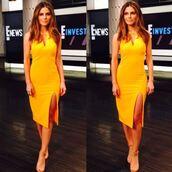 dress,slit dress,maria menounos,midi dress,instagram,sandals,orange,orange dress