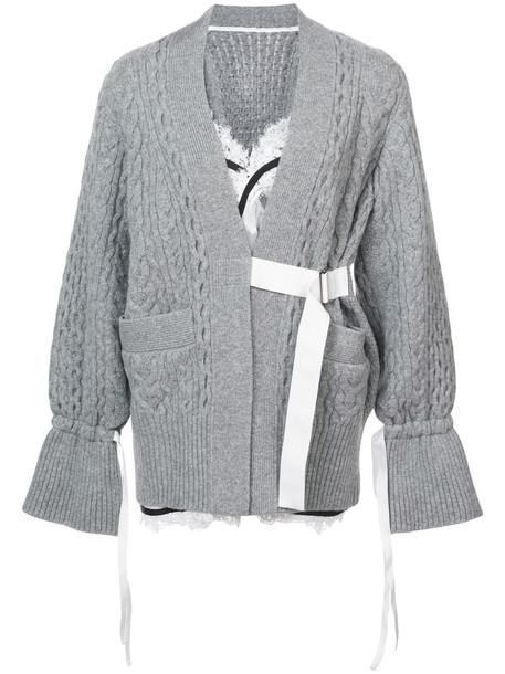 Sacai cardigan cardigan women layered lace wool grey sweater