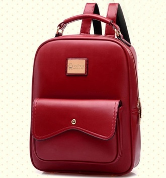 bag maroon leather backpack cute korean fashion