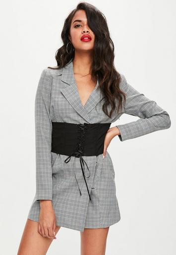 39a3510b55ff6 Missguided - Grey Check Belted Blazer Dress