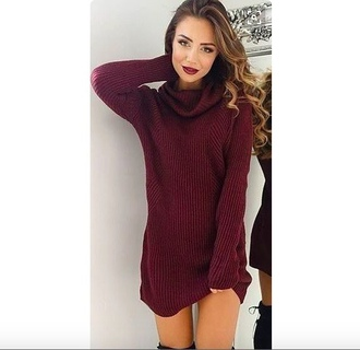 dress red fall outfits pretty cute turtleneck dress
