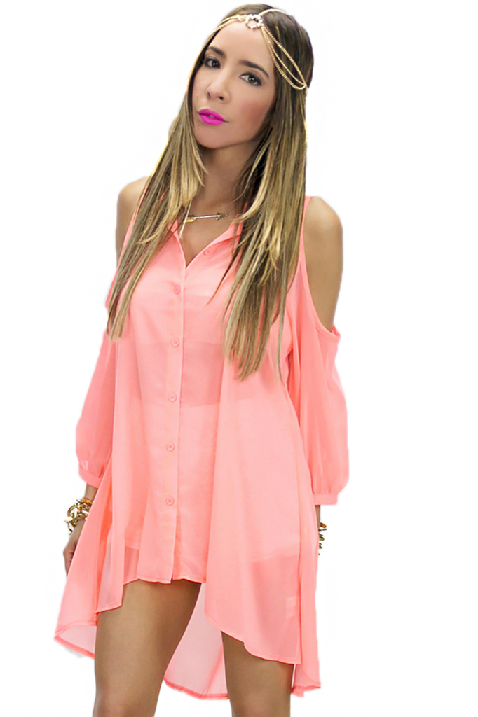 NEON SHOULDER CUTOUT BLOUSE - Coral | Haute & Rebellious