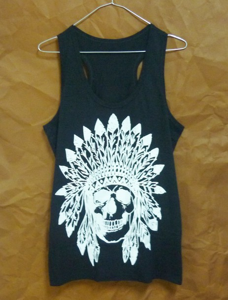 top skull tank top skull t-shirt sleeveless tank women tank top men tank top summer tank top clothes cotton