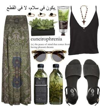 green sunglasses polyvore set navy green camouflage nature polyvore clothes skirt