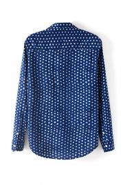 Dark Blue Irregular White Dots Print Blouse, Best fashion online store - FOYMALL