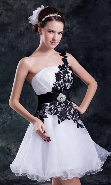 Dress: black and white dress, short prom dress, homecoming dress ...