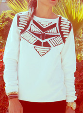 sweater,ethnic print,ethnic patterns,white,black and white