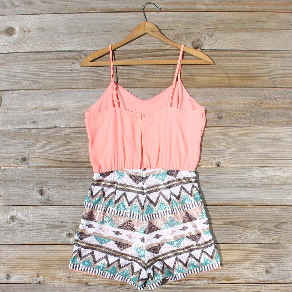 7eb50b253281 Crystal Wishes Romper in Peach
