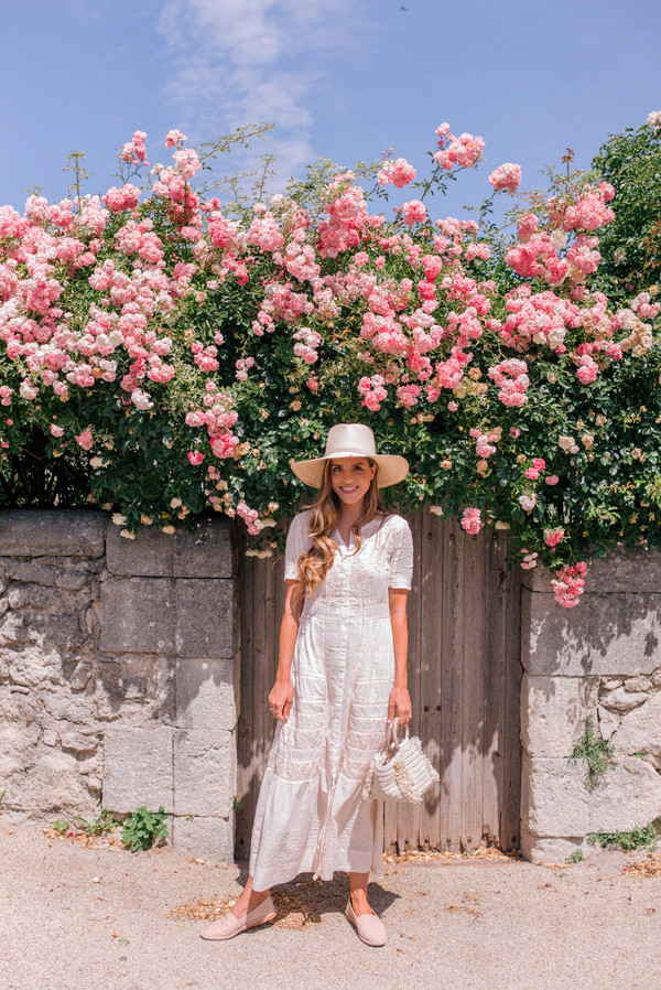 dress hat tumblr pink dress maxi dress long dress shoes flats sun hat vacation outfits